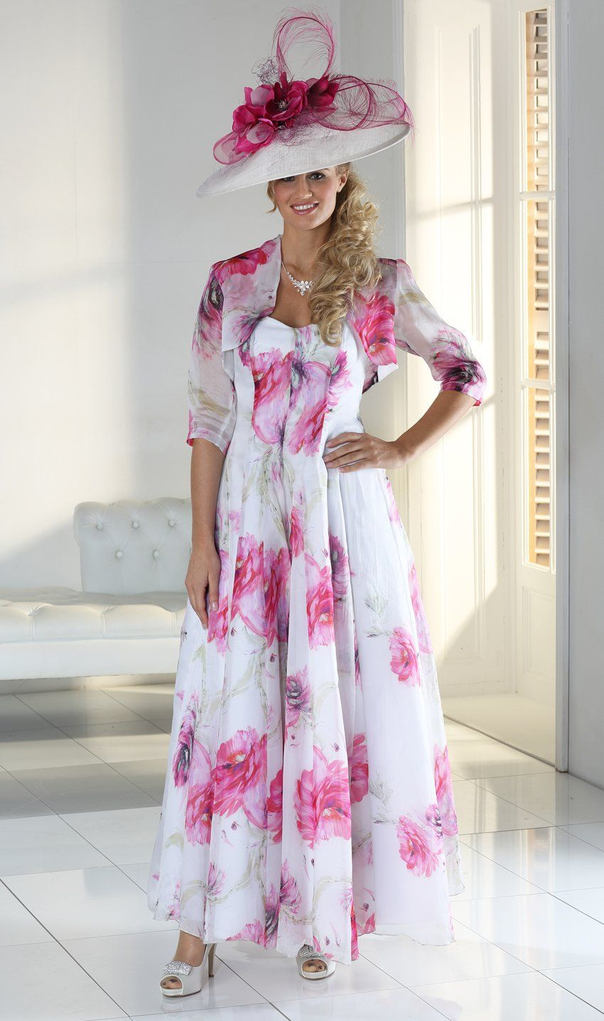 Pink dress and jacket for wedding  pueFlorentyna Dawn WhitePink Flower Grace Dress and Organza Boleroucp