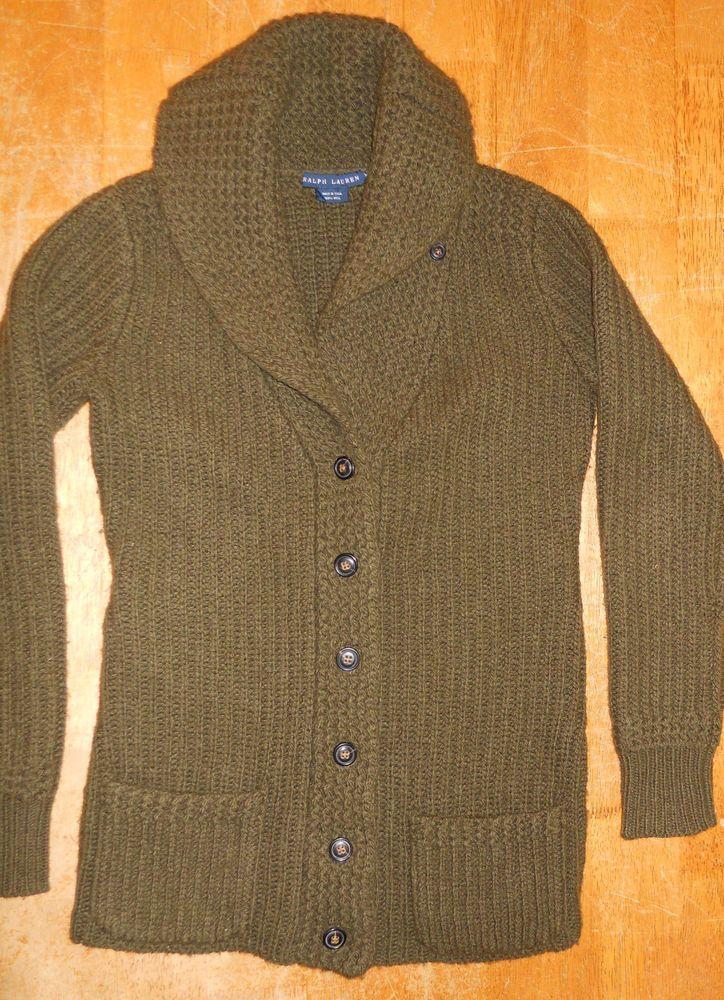 f8817aea5f Women's M Ralph Lauren 100% Wool Olive Green Shawl Collar Cardigan Sweater  in Clothing, Shoes & Accessories | eBay