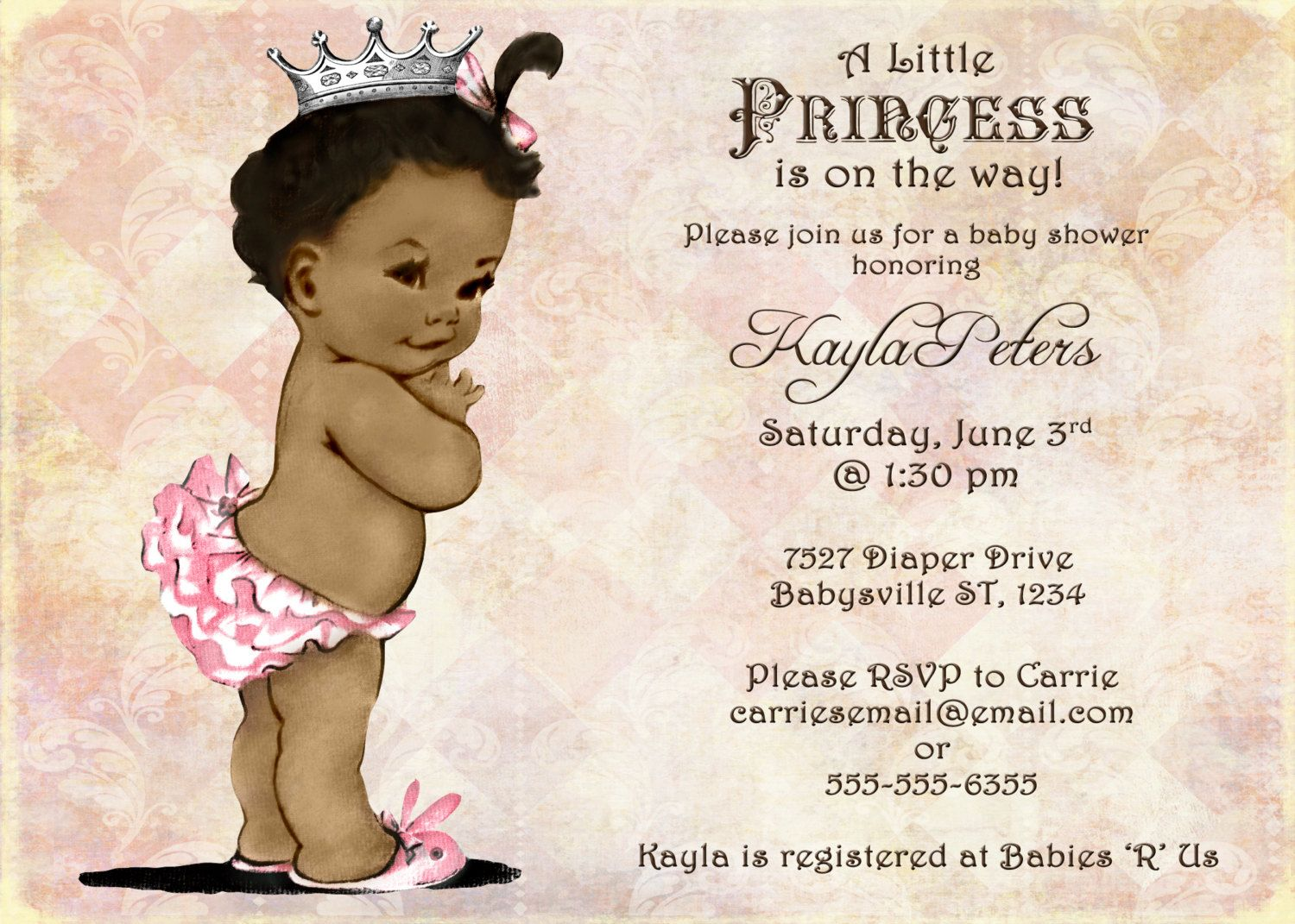 african american baby shower invitation for girl - princess, Baby shower invitations