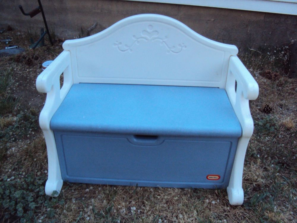 rare vintage big little tikes blue & white victorian toy box bench