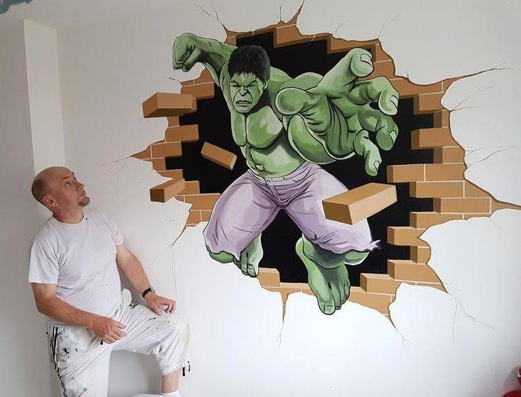 the incredible hulk hand painted mural my mural artwork mural rh pinterest com