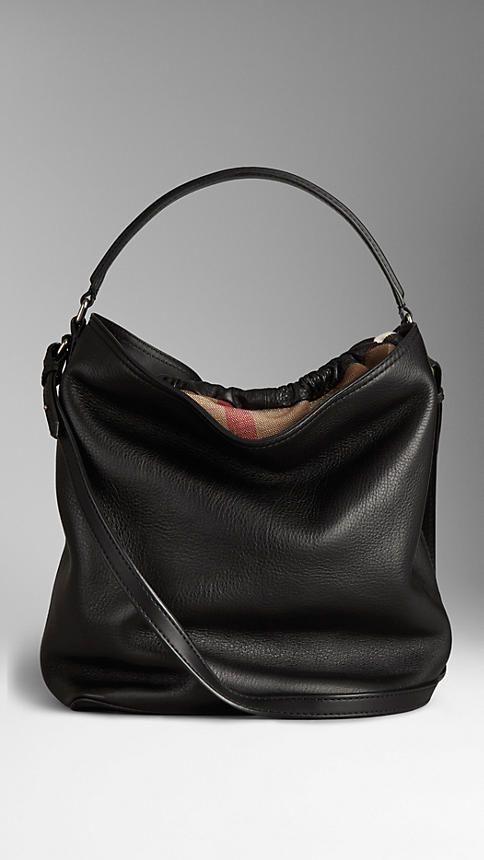 9ac315c3bc54 Medium Brit Check Leather Hobo Bag
