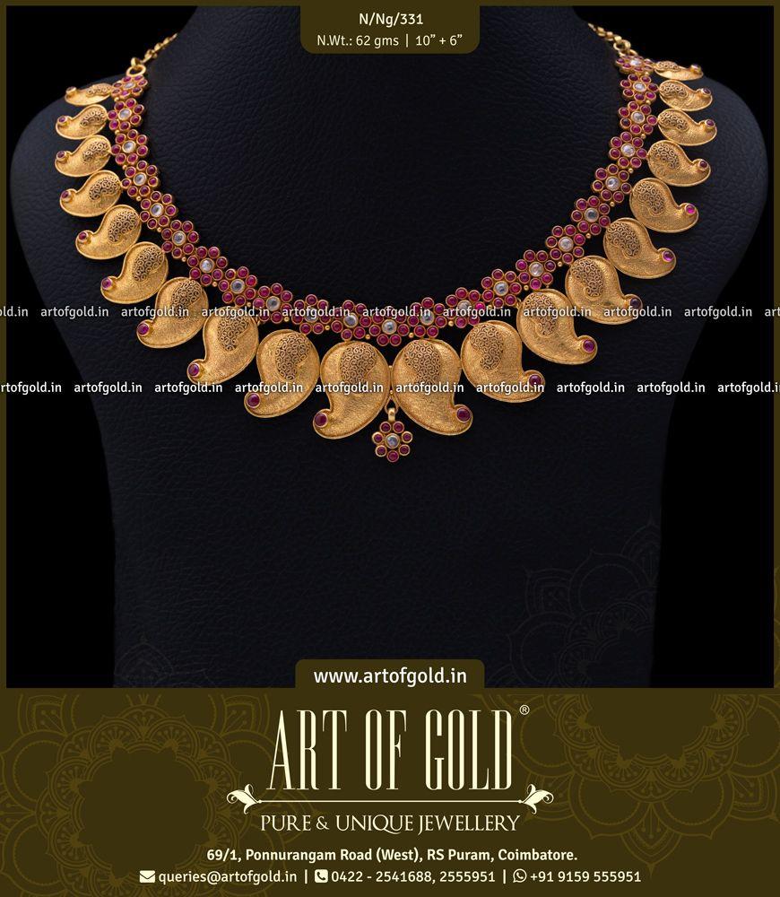 Plain gold bridal mango necklace the smaller filigree mangoes