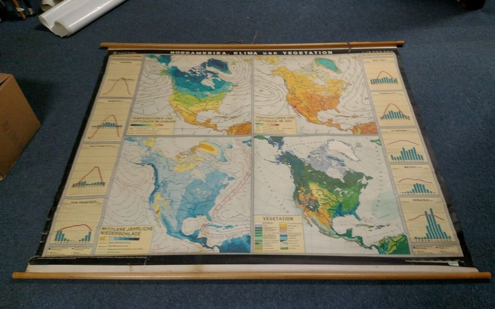 Denoyer geppert pulldown vintage map climate temperature