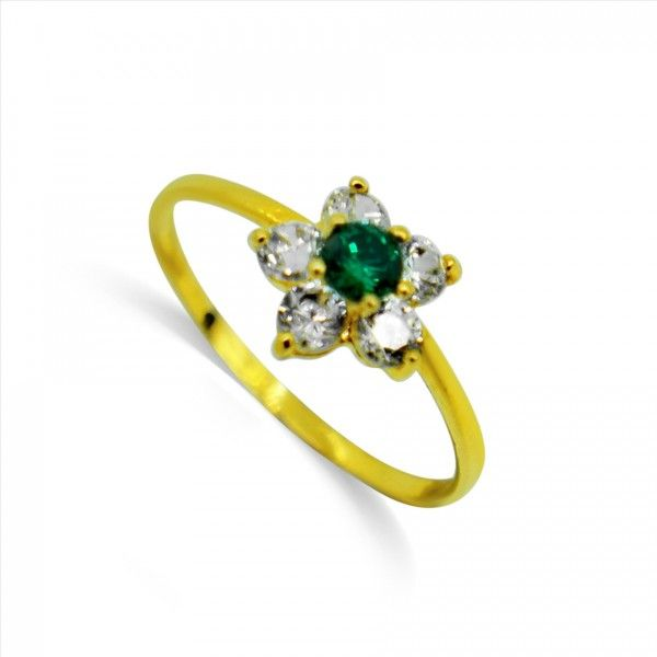 2ebc30220bdb1d Flower Design Cubic Zirconia , Green color Stone Infant Baby Ring - 22kt  yellow gold