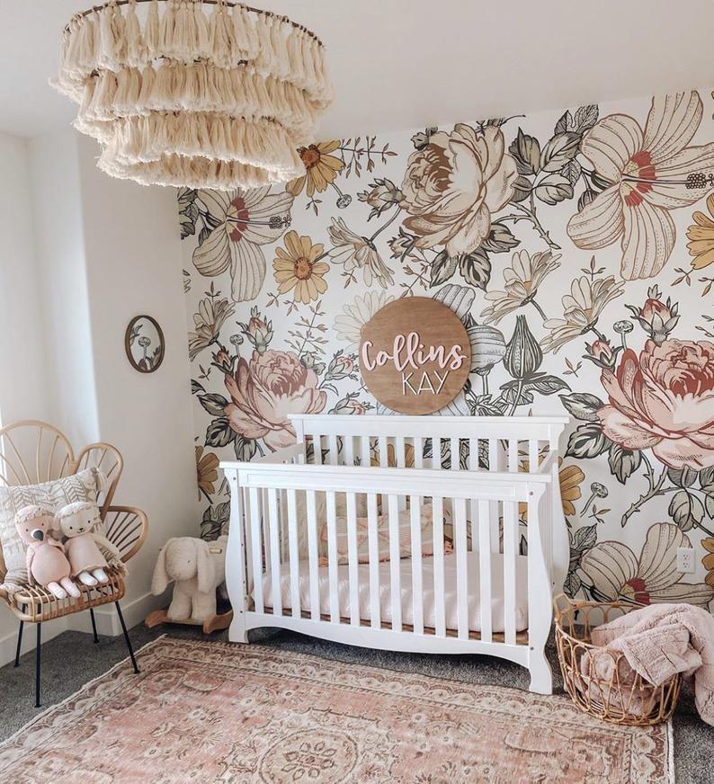 Harlow Peel And Stick Wallpaper Removable Etsy In 2021 Nursery Baby Room Baby Girl Nursery Room Girl Nursery Room