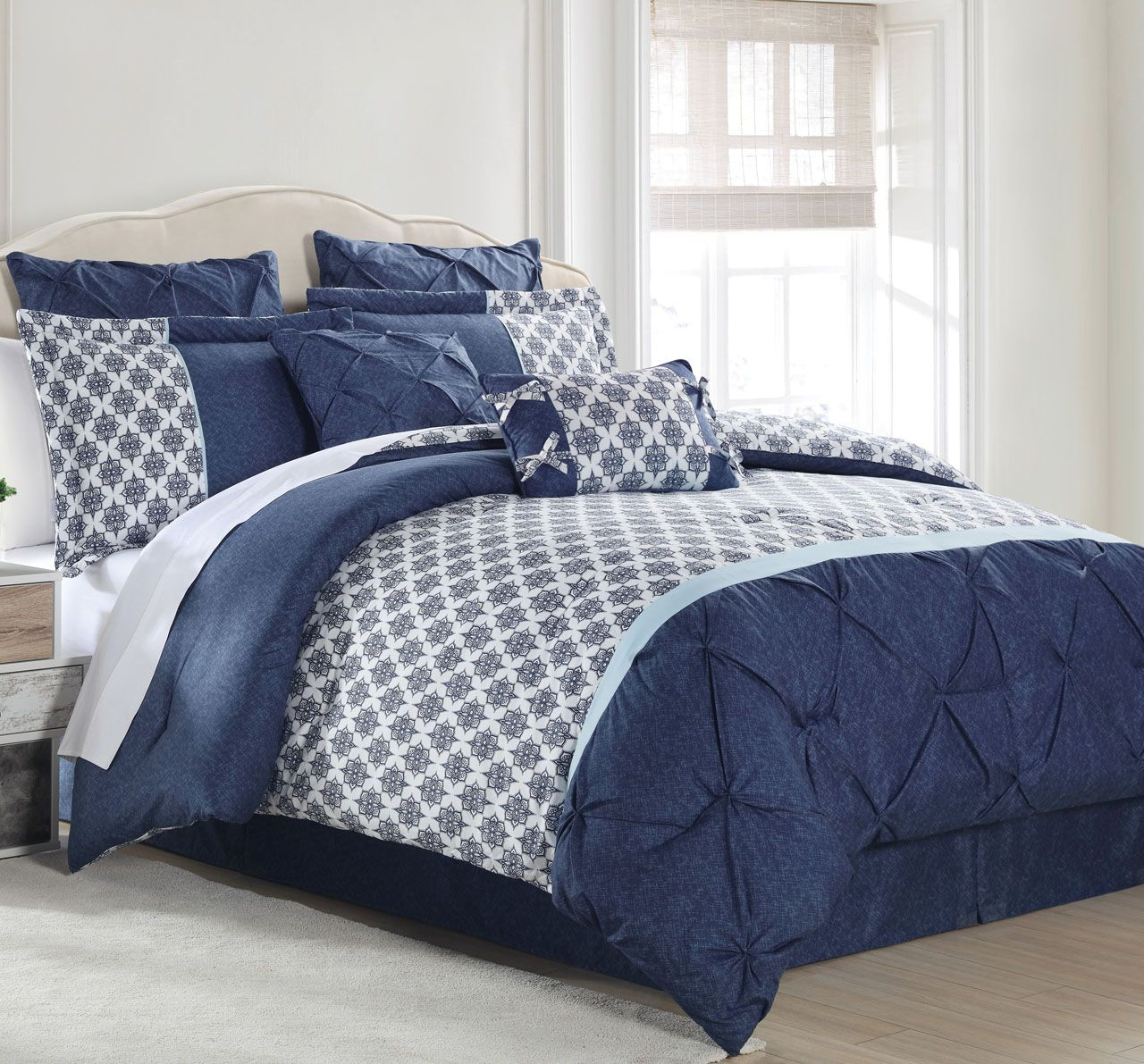 8 Piece Saffron Navy White Comforter Set With Images Comforter