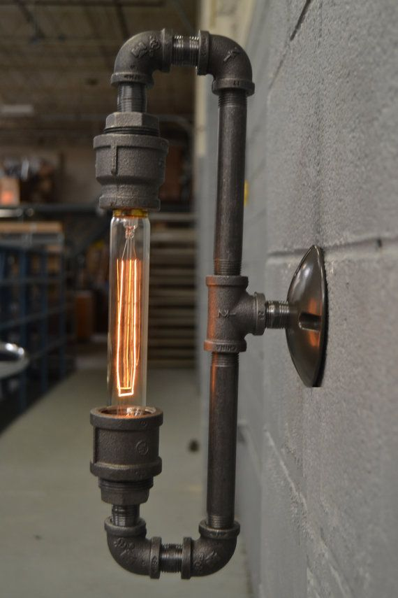 Steampunk pipe wall sconce / industrial pipe lamp / unique wall lighting / oval light / art light