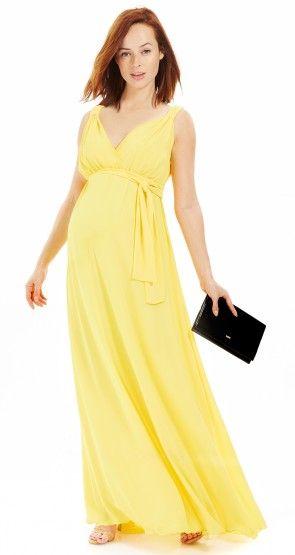d1a518065 La robe grossesse longue resserrée sous la poitrine jaune Envie de ...