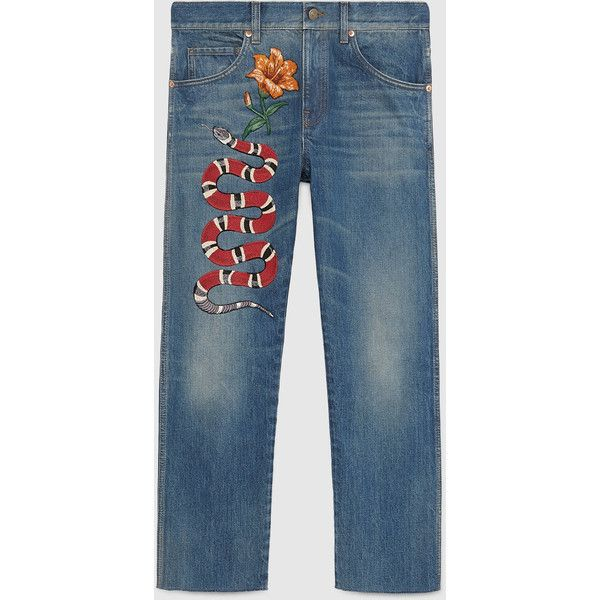 Gucci Embroidered denim pant (15.675 ARS) ❤ liked on Polyvore featuring gucci
