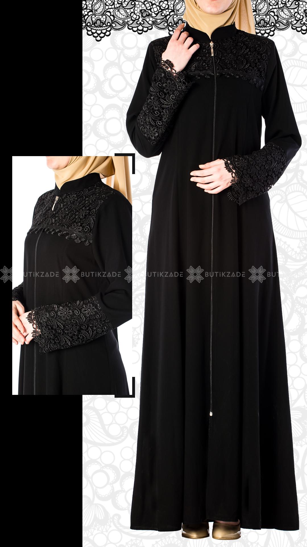 Zumrut Dantelli Ferace Siyah Muslim Fashion Abayas Fashion Muslimah Fashion