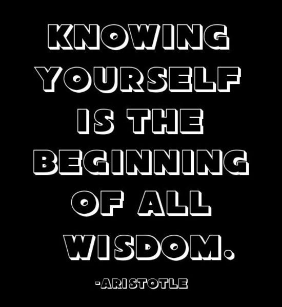 Knowing yourself is the beginning of all wisdom ...