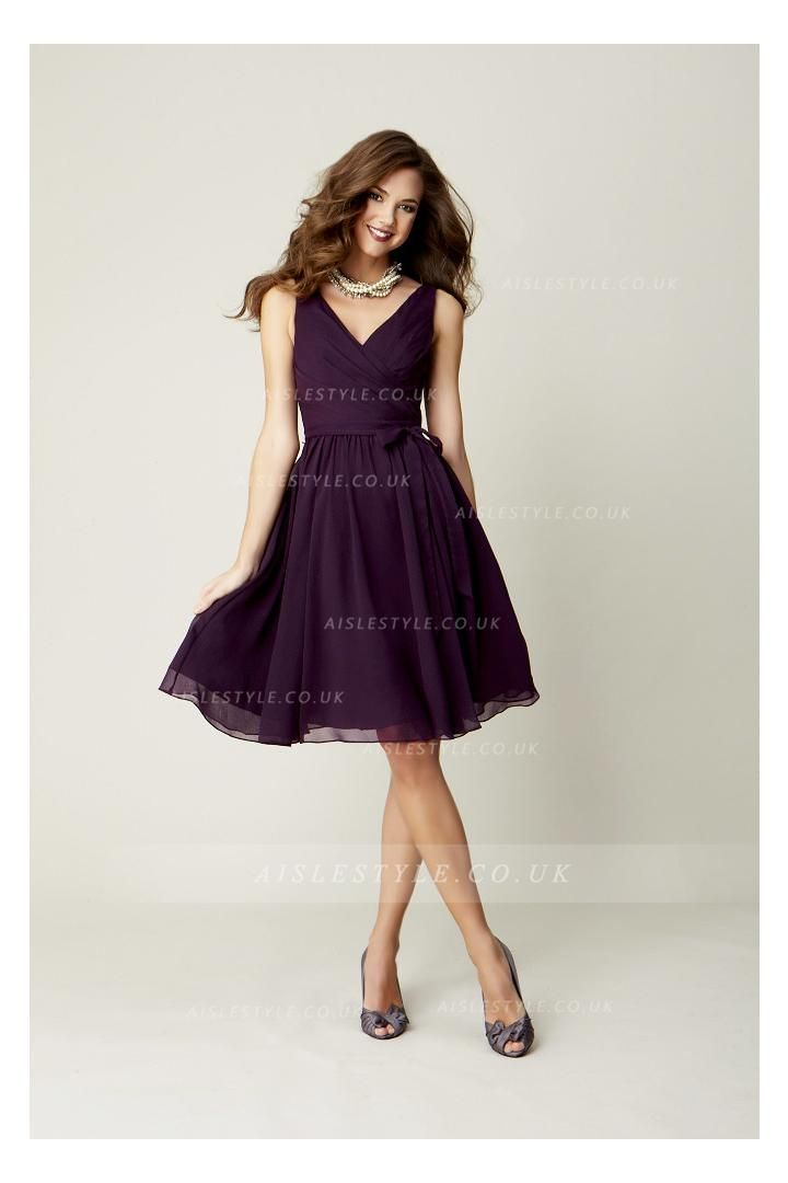 Pretty Knee Length Pleated Bodice Rustic Chiffon Bridesmaid Dress ...