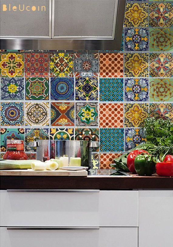 Bleucoin No. 21 Mexican Talavera Tile/ Wall/ Stair/ Floor Stickers ...