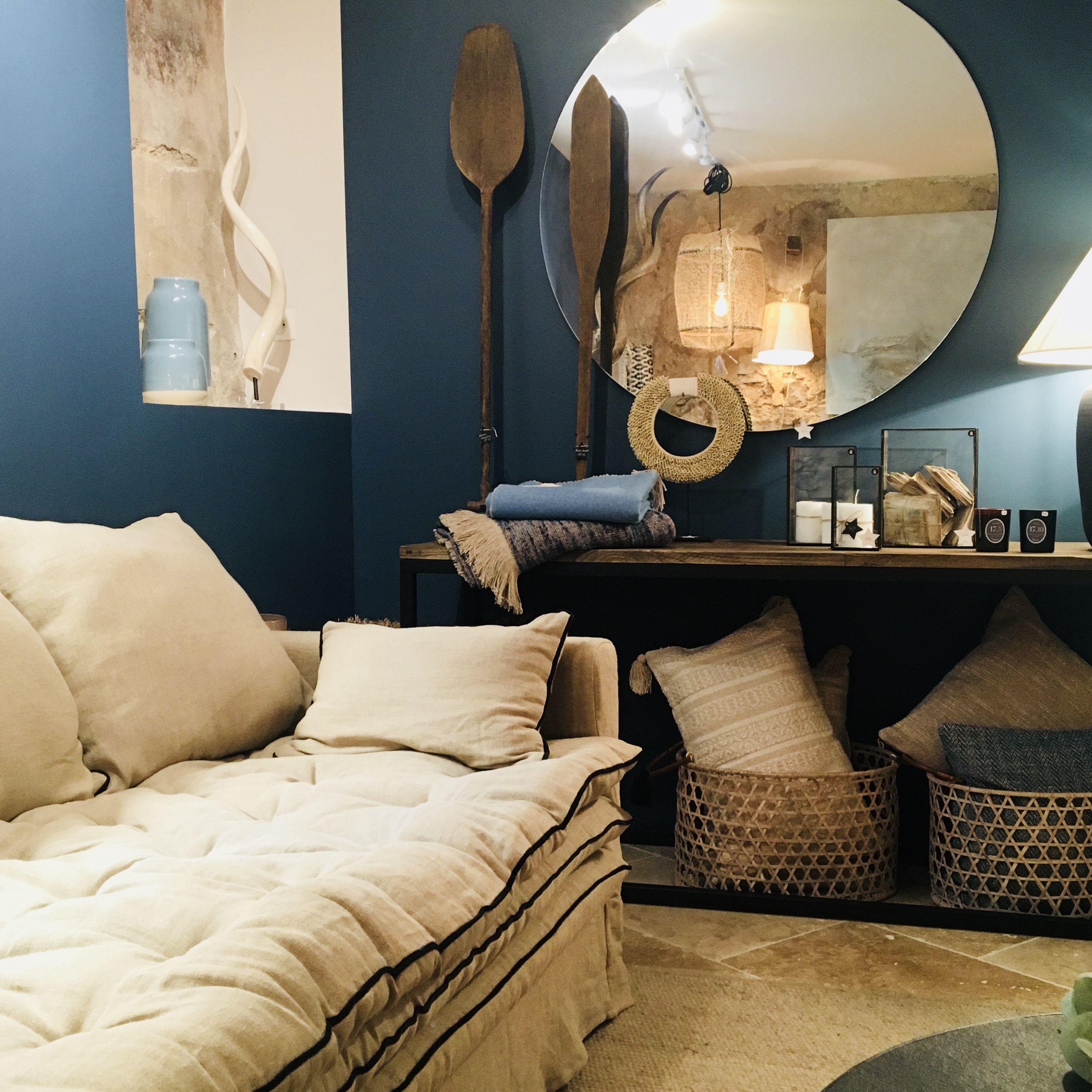 Canape Boheme Sur Mesure En Lin Froisse Beige Ciment Decoration Interieure Idees De Decor Canapes Blancs