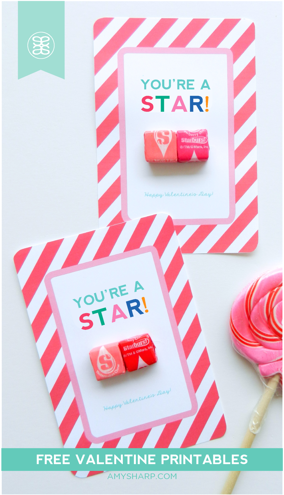 This is a graphic of Current Starburst Valentine Printable