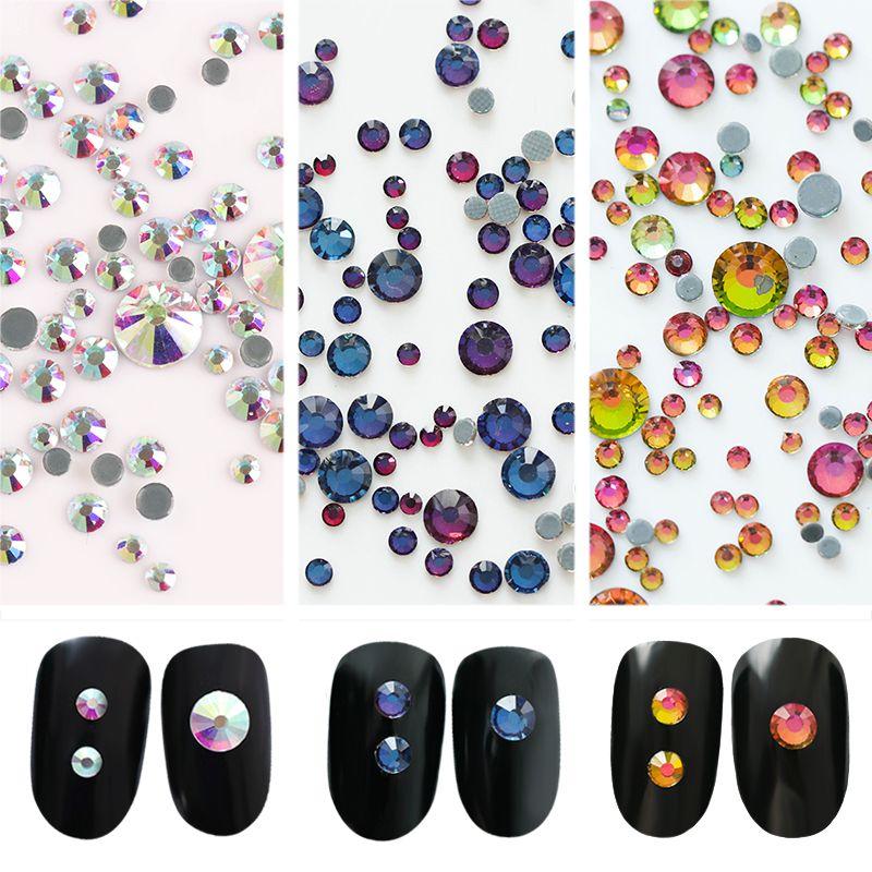 1 Bag 5.5g Colorful Rhinestone 3D Nail Decorations Multi-size Flat ...