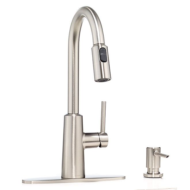 Moen Nori Kitchen Faucet Pull Down Spray Single Lever 1 To 4 Holes Stainless Steel Rona In 2020 Kitchen Faucet Stainless Kitchen Faucet Faucet