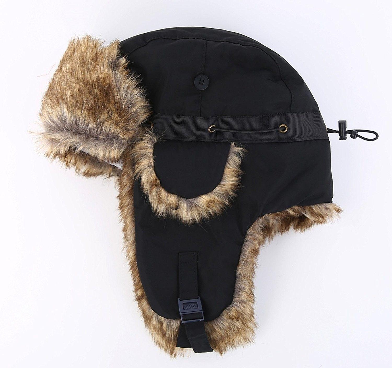 Hats caps mens hats caps skullies beanies mens winter faux fur trapper hat  windproof hunting hat 6600a48ff8aa