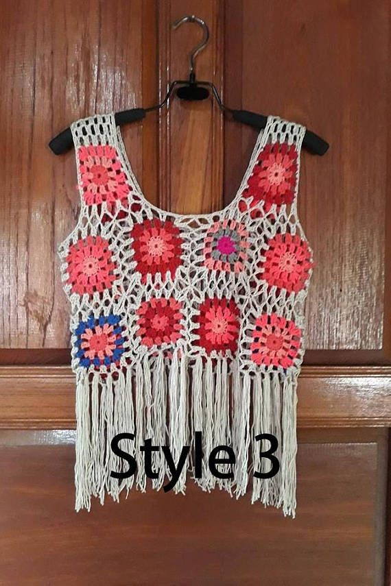d3024c8698 Hand Knitted Flower CrochetTank Tops with Fringe. Black or White Colors   Colours. Cute for the Beach  Pool  Summer Bikini  Swimsuit Cover