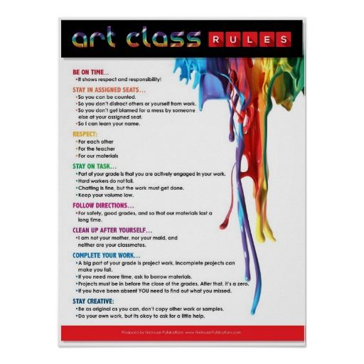 Rules Procedures: Rules For The Art Classroom Poster