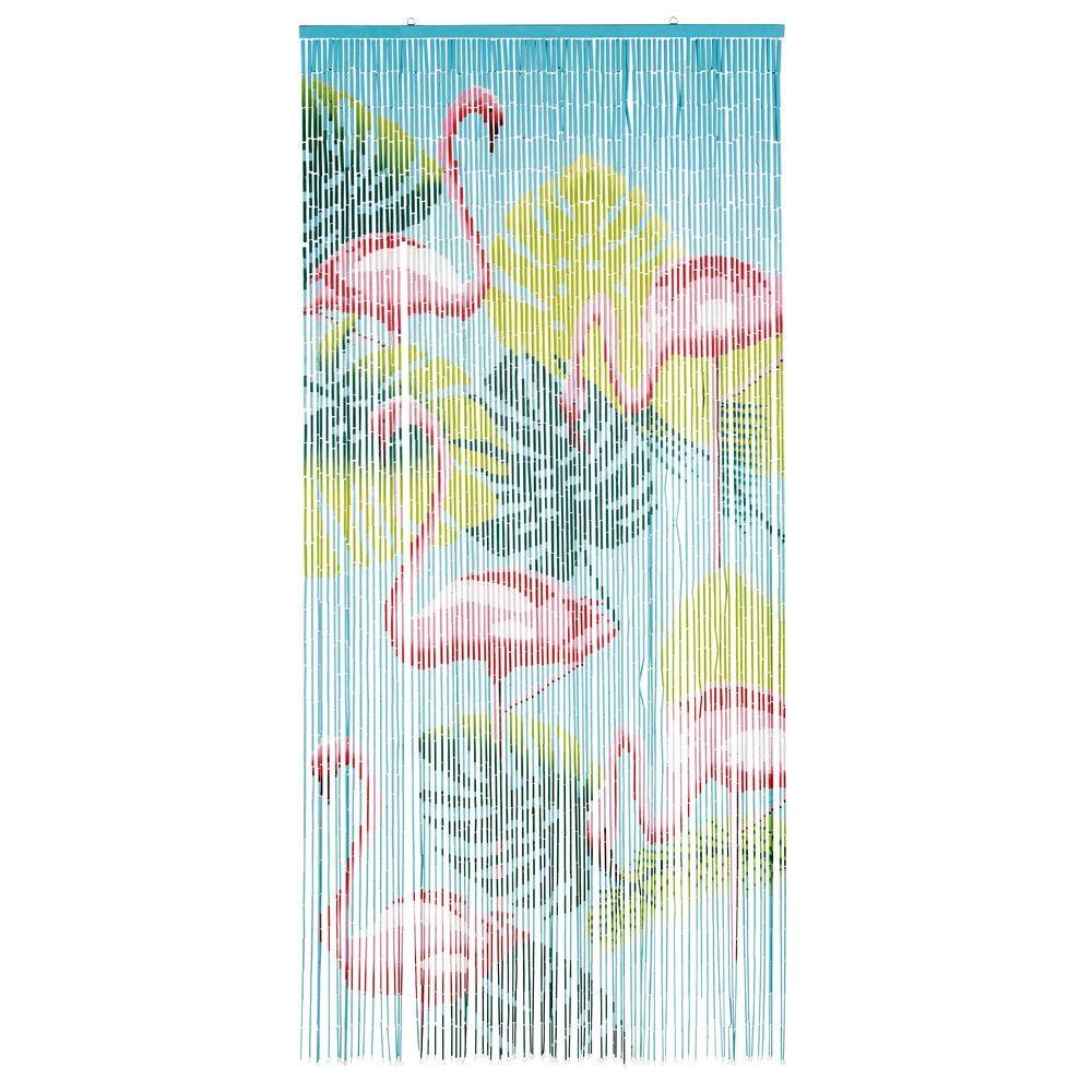 Rideau de porte imprimé flamants roses en perles de bambou | Maisons ...