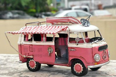 Miniature Retro Style Pink Volkswagen Trailer Car Model Hand Made Metal Toy Car  | Toys & Hobbies, Models & Kits, Automotive | eBay!