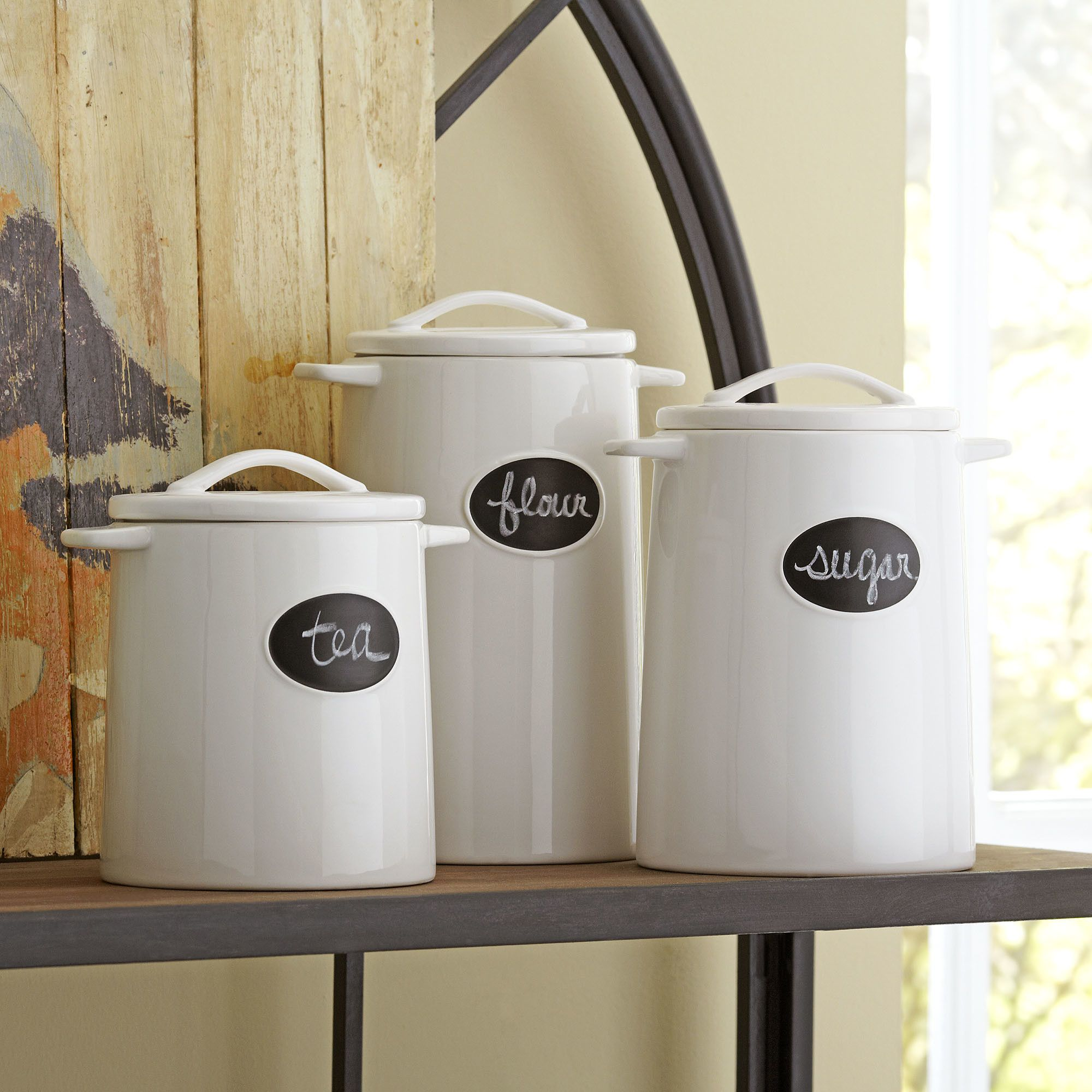 Chalkboard Canisters - Crafted From Durable Stoneware, These Chalkboard Canisters