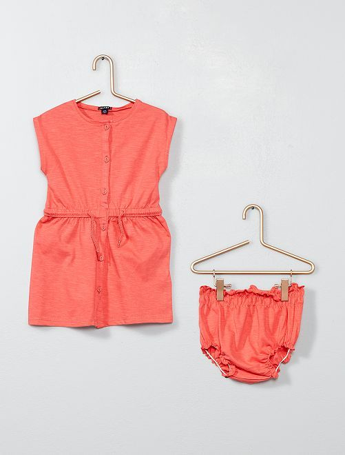 8f786b57adab5 Robe boutonnée + culotte Bébé fille - rose corail à 8
