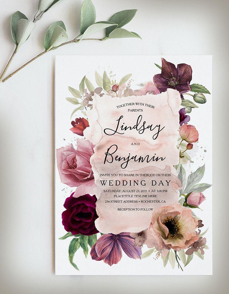 Earthy Tones Burgundy Floral Vintage Wedding Invit