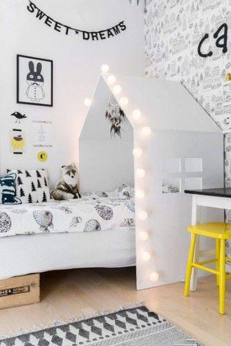 une tete de lit maison pour une chambre de petite fille