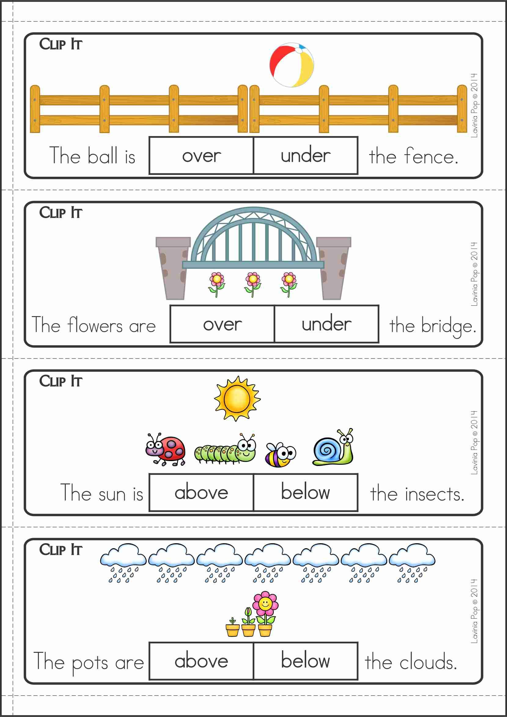 Positional Worksheet For Kindergarten