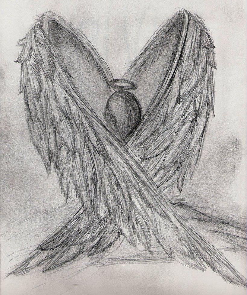 Broken Angel Pencil Sketch Handmade Black And White