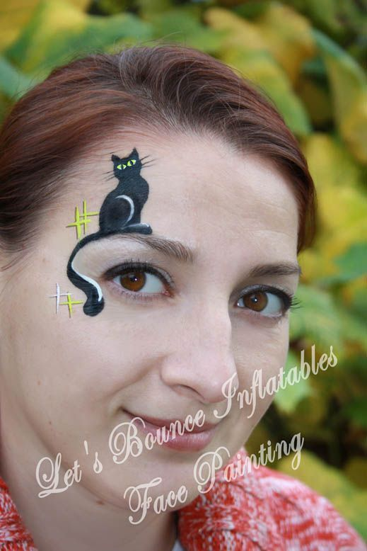 Black Cat Halloween makeup idea by Let\u0027s Bounce Inflatables www - face painting halloween makeup ideas