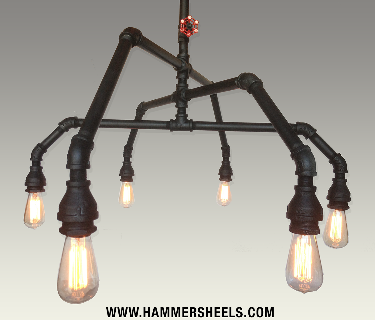 Industrial Rustic Pipe and Vintage Valve Chandelier - 6 Light ...
