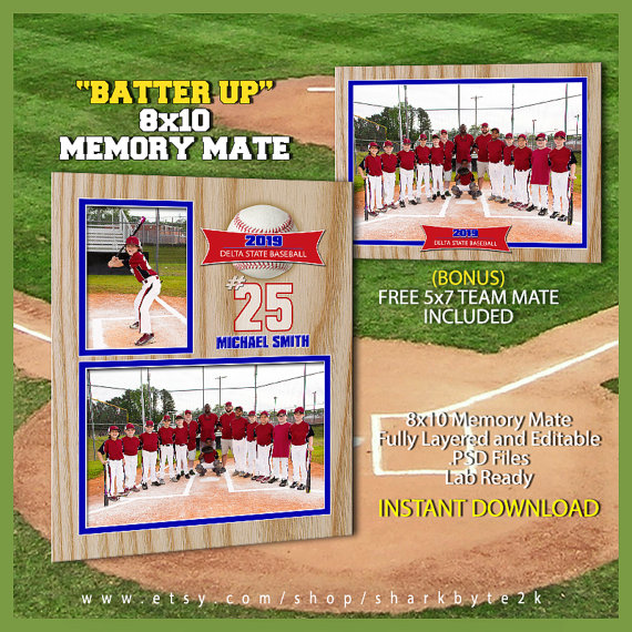 2020 Baseball Memory Mate Template For Photoshop Batter Up Etsy Baseball Card Template Baseball Cards Card Template