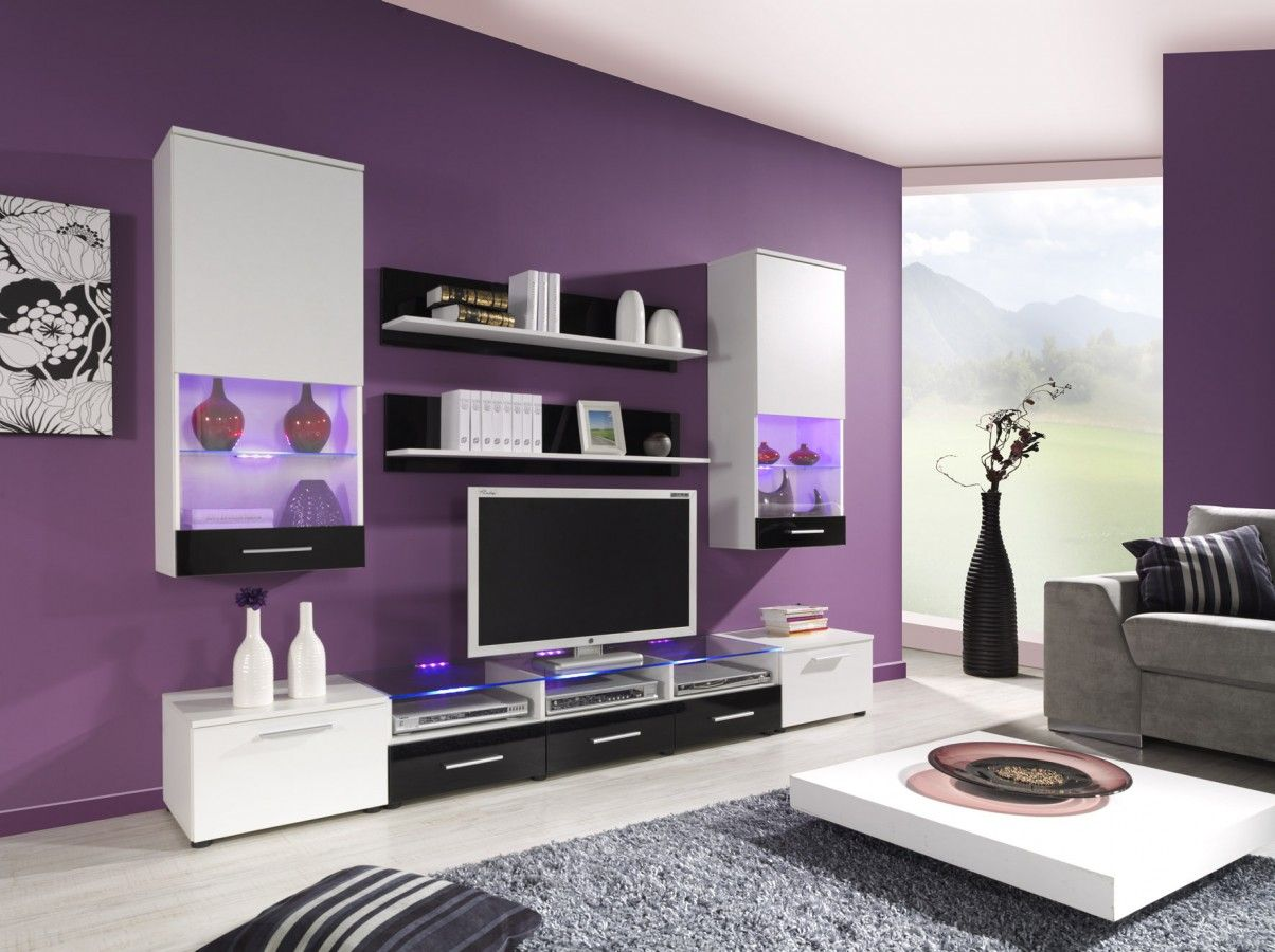 Modern Wall Units Wall Units Living Room Wall Units  # Meuble Tv Violet