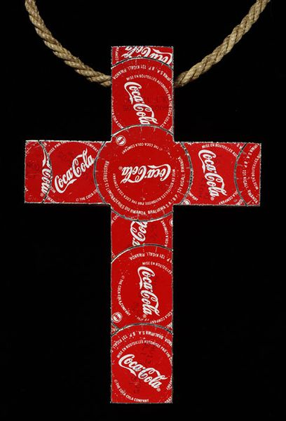 David Poston- 'The Real Thing' -- pectoral cross 2004 -- Steel on a wooden frame -- V&A Museum
