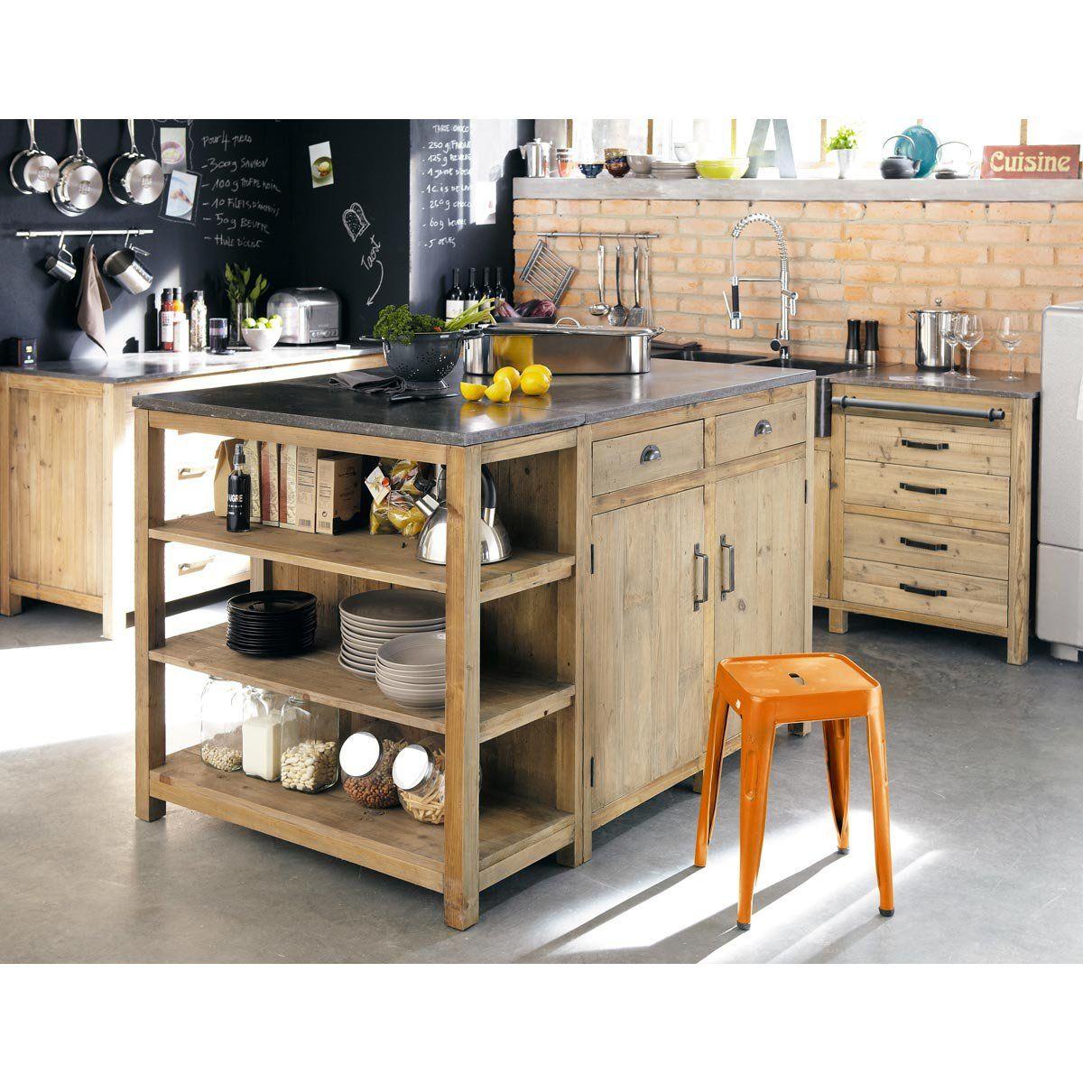 Verriere Cuisine Deco ~ Isola Centrale In Pino Riciclato L 145 Kitchens Interiors And
