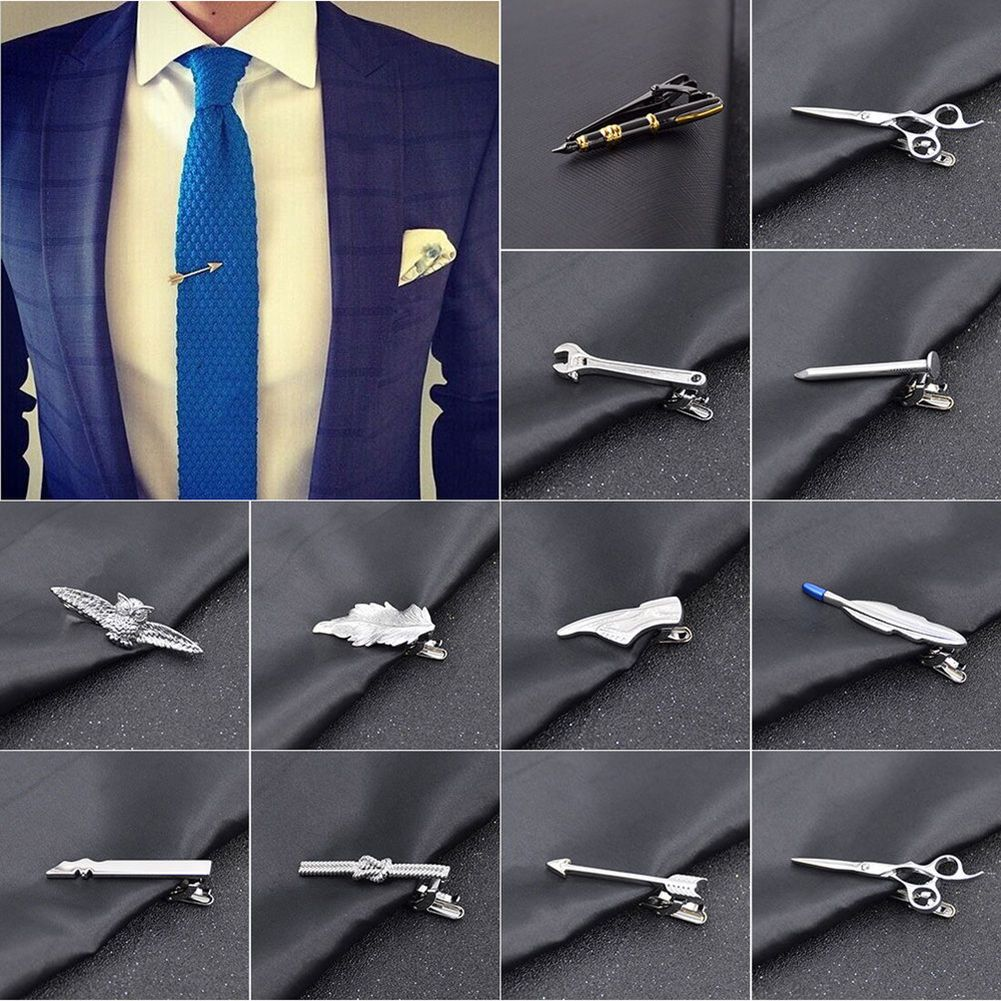 Men/'s Metal Tie Clip Bar Necktie Pin Clasp Clamp Wedding Charm Creative Gifts