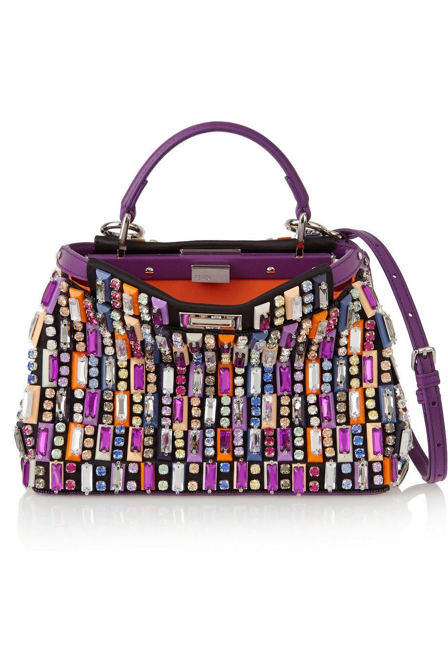 2b06e20c04 Fendi - Peekaboo mini embellished satin and leather shoulder bag