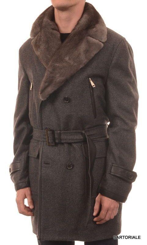BRIONI Gray Cashmere DB Belted Coat Jacket Mink Fur Lining Collar EU 54 XL US 44