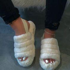 Photo of Fur Sling Back Slipper Sandals