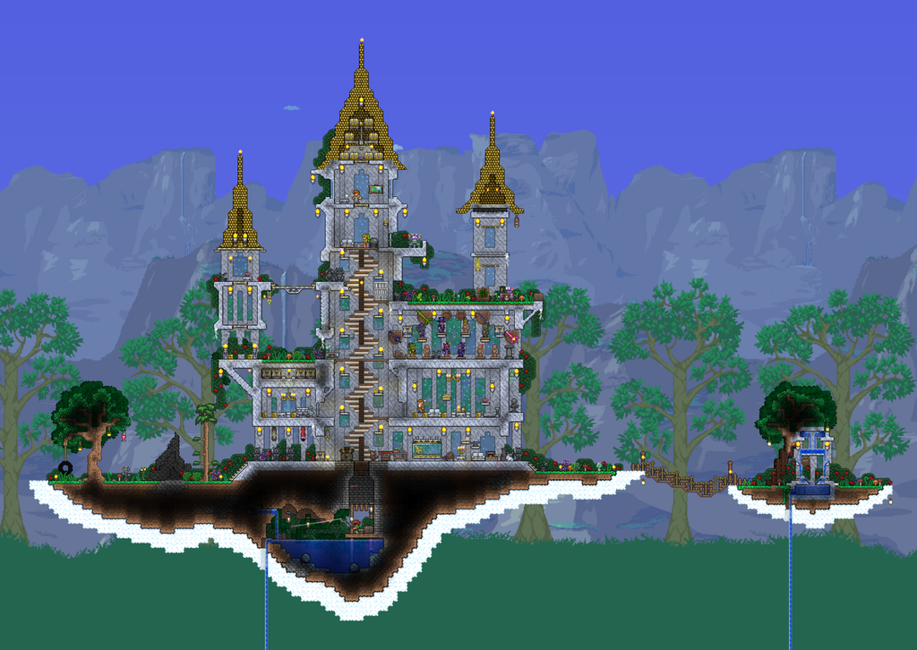 Updated Sky Islands Terraria Terraria Castle Terraria House