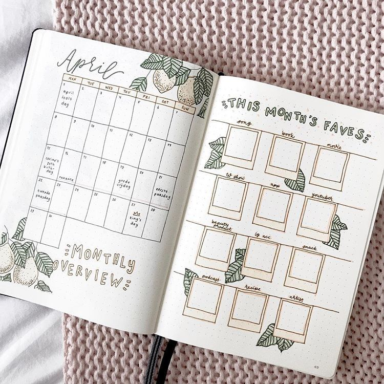 "laura | 19 on Instagram: ""「 monthly overview 」 i'm so excited about this theme, i want it to be april already �� ✧ /q/ what's your favourite drink? /a/ iced lattes �…"""