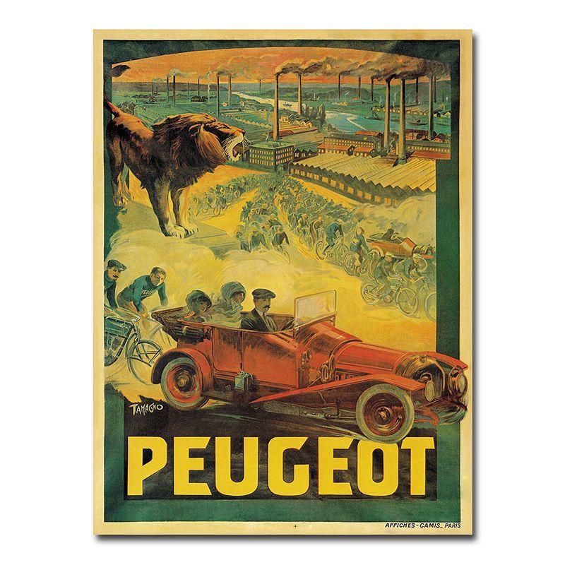 Peugeot Cars, 1908\'\' 35\'\' x 47\'\' Canvas Art by Francisco Tamagno ...