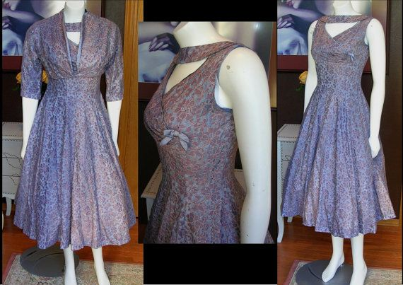 Gorgeous 1950s Periwinkle Cocktail Dress with Matching Bolero Jacket Great Condition Mad Men Party Dress   by WestCoastVintageRSL, $158.00