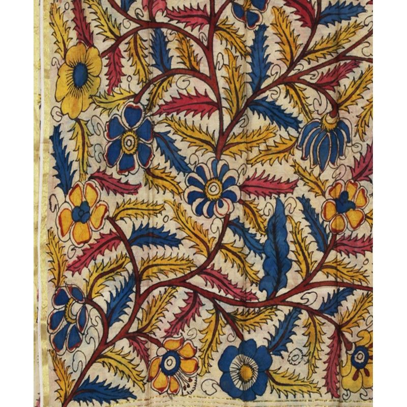 Kalamkari printed dupatta long indian scarf in floral for Different painting designs