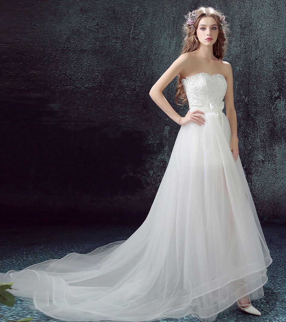 Wedding dress with short front and long back  High Low wedding dress with Detachable skirt at Bling Brides Bouquet