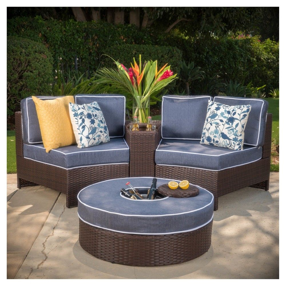 Madras Ibiza 4pc Wicker 1 2 Round Seating Set With Ice Bucket Ottoman Navy Blue Christopher Knight Home Wicker Patio Sectional Outdoor Furniture Sets Wicker Outdoor Sectional